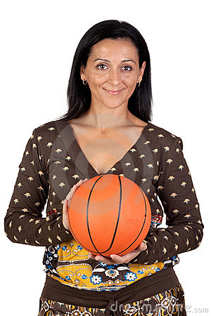 Attractive girl with a basketball