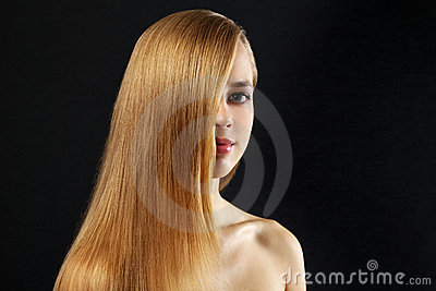 Attractive girl with beautiful, straight hair