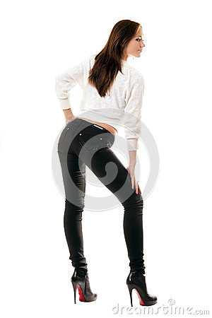Attractive girl in black tight jeans