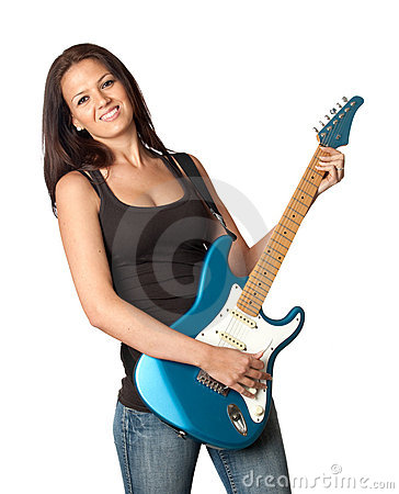 Attractive Girl With A Blue Electric Guitar Royalty Free Stock Images - Image: 13756179