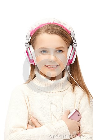 Attractive girl blue eyes in headphones