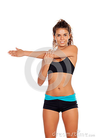 Attractive girl doing stretching arms