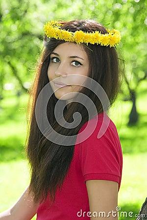 Attractive girl in the garden.