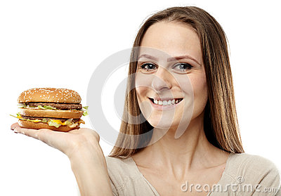 Attractive girl with hamburger