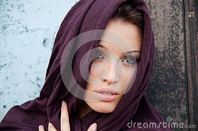 Attractive girl in a headscarf