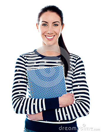 Attractive girl holding blue spiral notepad
