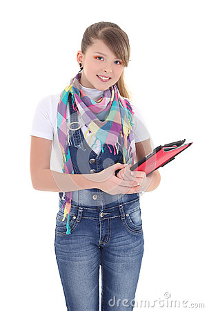 Attractive girl holding tablet pc over white