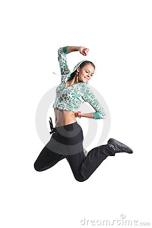 Attractive girl jumping