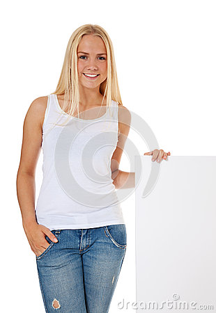 Attractive girl next to blank sign