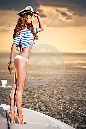 Free Attractive Girl On A Yacht At Summer Day Stock Image - 30499361