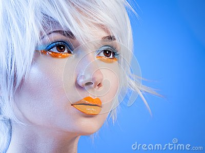 Attractive girl with orange lips