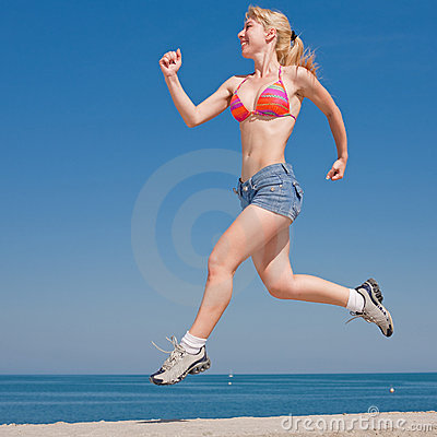 Attractive girl runs
