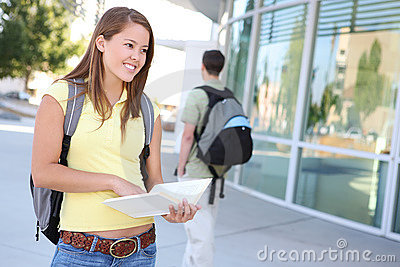 Attractive Girl At School Library Royalty Free Stock Image - Image: 6222786