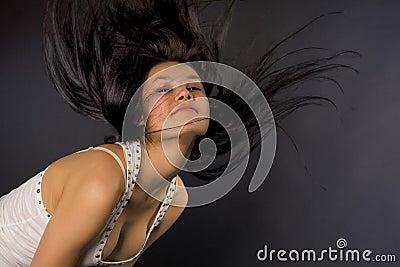 Attractive girl shaking her head