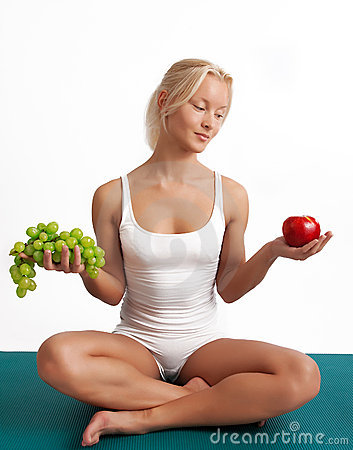Free Attractive Girl Sitting On Mat With Fruits Stock Photos - 11074393