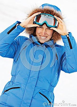 Attractive girl in ski sunglasses