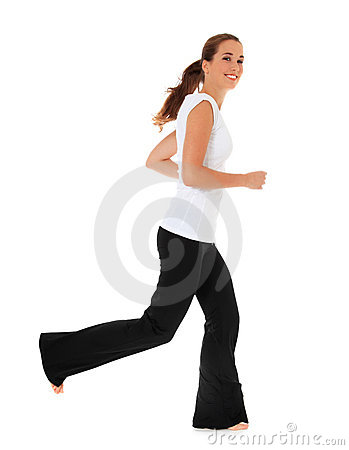Attractive girl in sports wear running