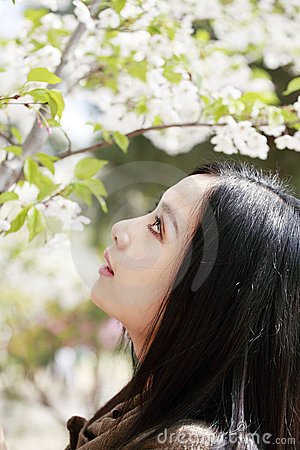 Attractive girl in spring
