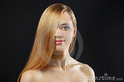 Attractive girl with straight hair