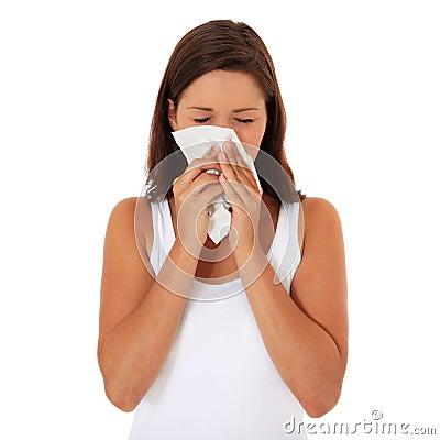 Attractive girl using tissue