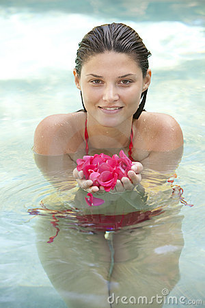 Attractive girl in water