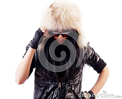 Attractive girl wearing fur hat