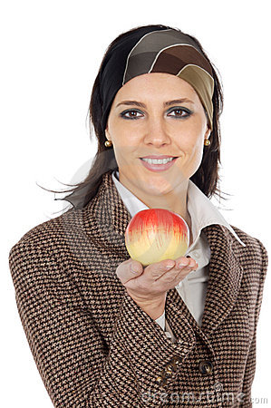 Free Attractive Girl With Apple  In The Hand  (focus In The Apple) Royalty Free Stock Images - 1917659