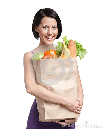 Free Attractive Girl With The Packet Of Fruit Royalty Free Stock Images - 26759839