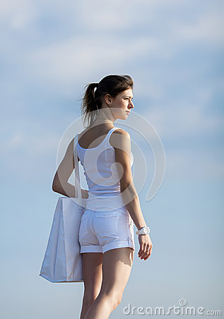 Free Attractive Girl With White Bag On Open Air Royalty Free Stock Images - 36924689