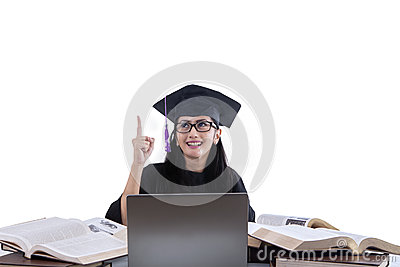 Attractive graduate have idea on white