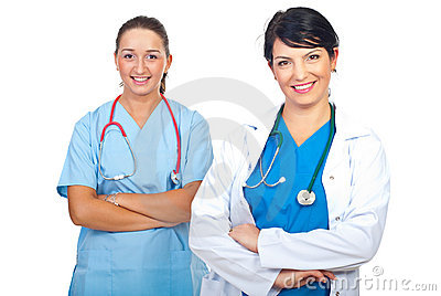 Attractive happy doctors women