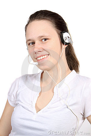Attractive headset girl
