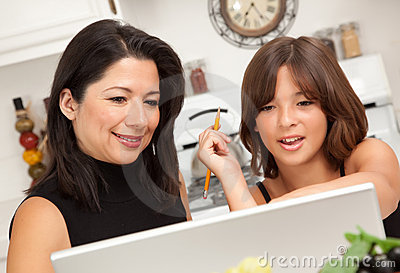 Attractive Hispanic Mother & Daughter Using Laptop