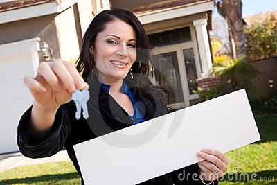 Attractive Hispanic Woman Holding Blank Sign