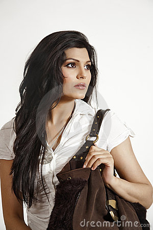 Free Attractive Indian Girl Holding Hand Bag Stock Photography - 20200412