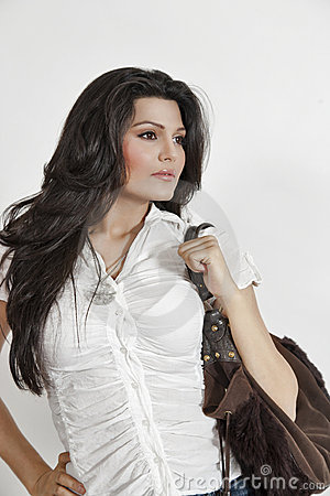 Free Attractive Indian Girl Holding Hand Bag Stock Photo - 20200470