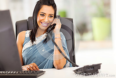 Attractive indian receptionist