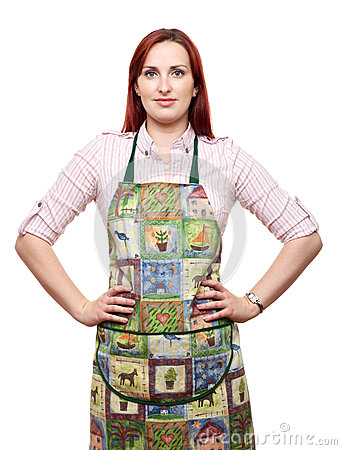 Attractive lady in apron, ready to cook!