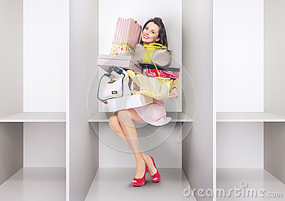 Attractive lady in the changing room Stock Photo