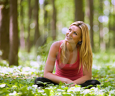 Attractive lady in the forest