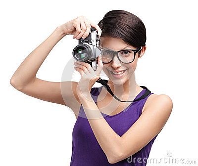 Attractive lady hands retro photographic camera