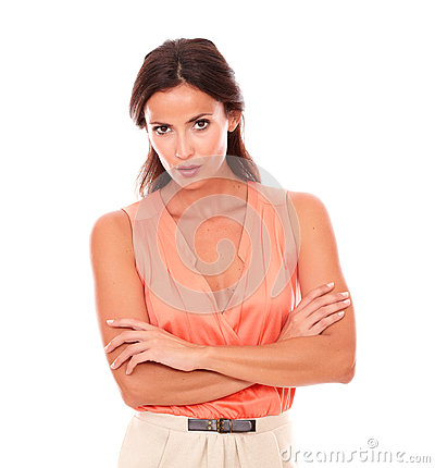 Free Attractive Lady In Elegant Blouse Looking At You Stock Image - 48894981