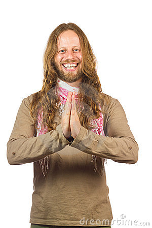 Free Attractive, Laughing Hippie With Hands Together. Royalty Free Stock Photo - 17736345