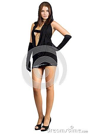 Attractive leggy woman in black dress