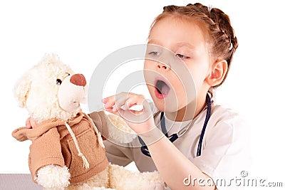 Attractive little doctor girl