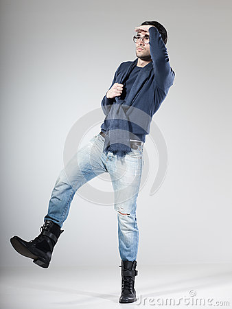 Attractive male model posing in the studio