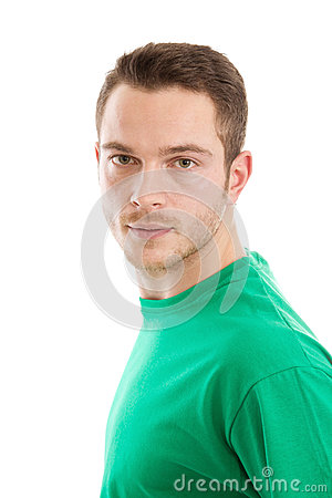Attractive man with green t-shirt