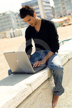 Attractive man with laptop