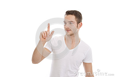 Attractive man presses button - t-shirt
