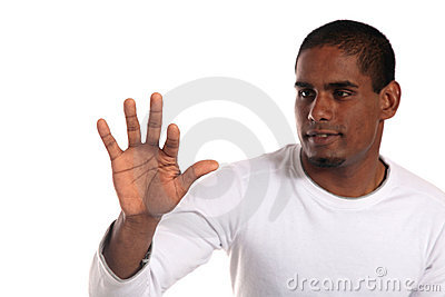 Attractive man pushing with forefinger